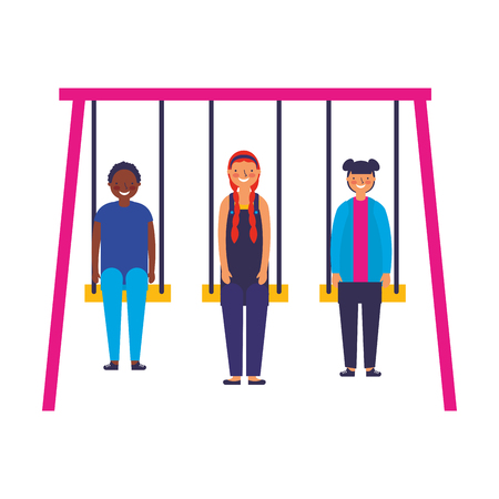 group of teenagers on a swings vector illustration Çizim
