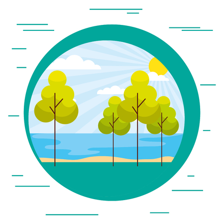 ocean shore trees sunny day scenery vector illustration