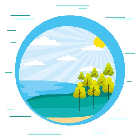 ocean shore trees sunny day scenery vector illustration