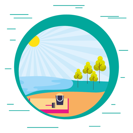 beach sand tree nature landscape vector illustration