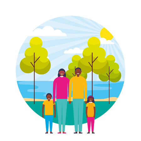 family together lake sun day landscape vector illustration  イラスト・ベクター素材