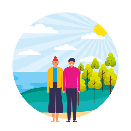 happy couple in the natural landscape vector illustration