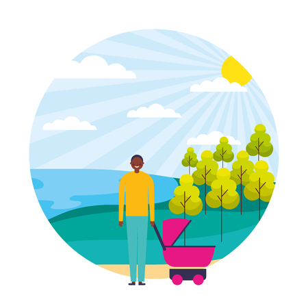 smiling man with baby pram in the landscape vector illustration