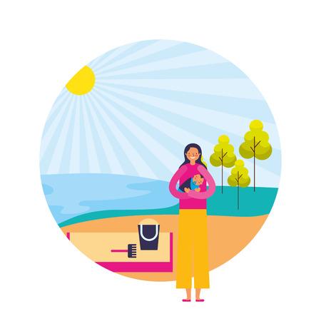 mother and baby boy shore sand landscape vector illustration