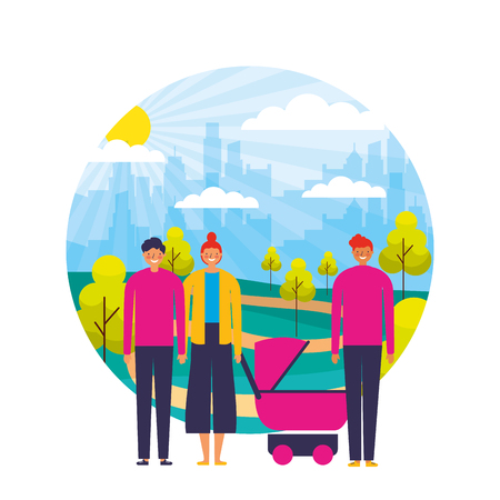 couple and man with pram baby in the park city vector illustration