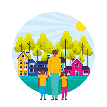dad and kids suburban neighborhood landscape vector illustration