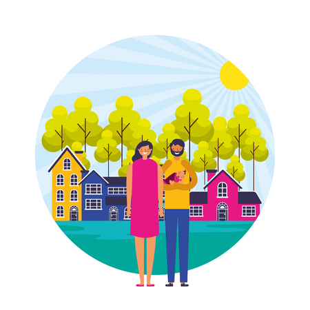 parents and baby suburban neighborhood landscape vector illustration