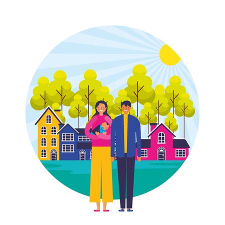 parents and baby suburban neighborhood landscape vector illustration