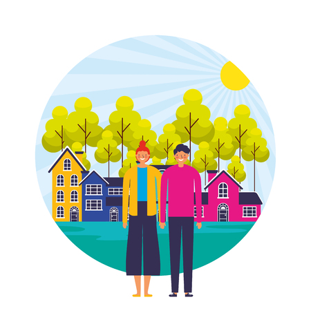 happy couple suburban neighborhood landscape vector illustration