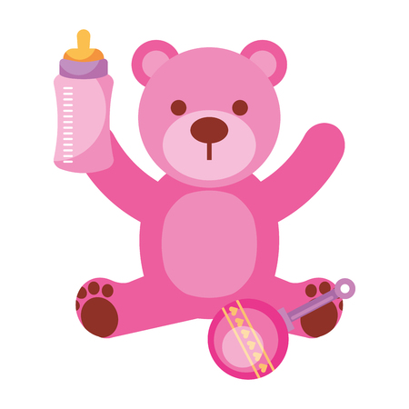 pink bear milk bottle and rattle vector illustration