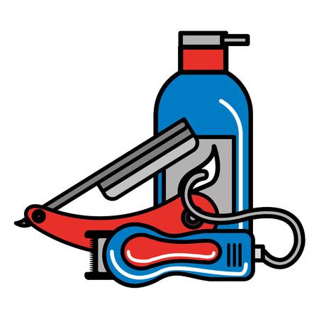 barber shop electric shaver razor and gel vector illustration