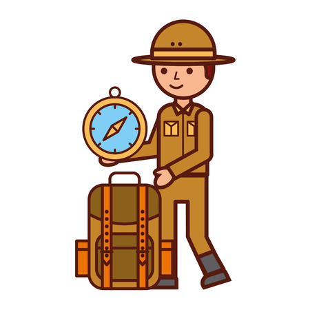 boy character safari backpack and compass vector illustration