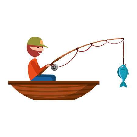 fisherman with rod and boat fishing sport vector illustration