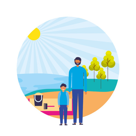 father and son shore sand landscape vector illustration
