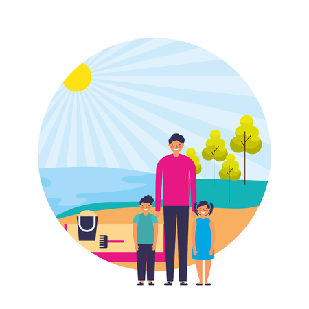 father with son and daughter shore sand landscape vector illustration Stock Illustratie