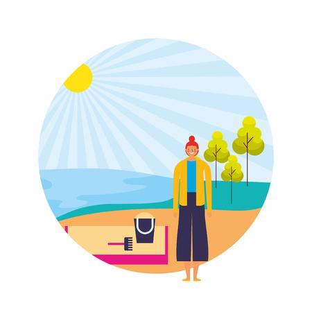 Frau in der Ufersandlandschaftsvektorillustration