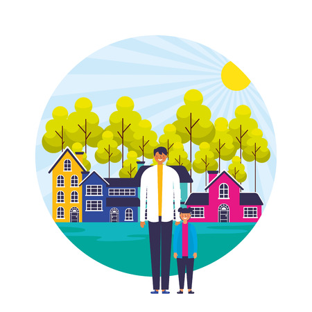 father and son suburban neighborhood landscape vector illustration