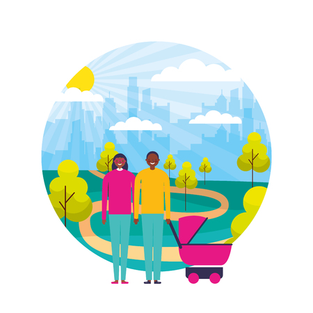 couple and baby pram in the park city vector illustration
