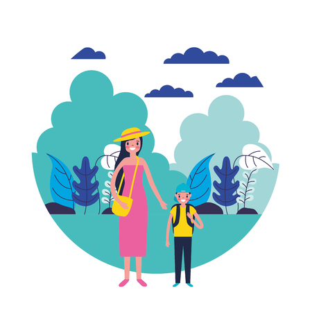 travelers woman and son in the natural scene vector illustration