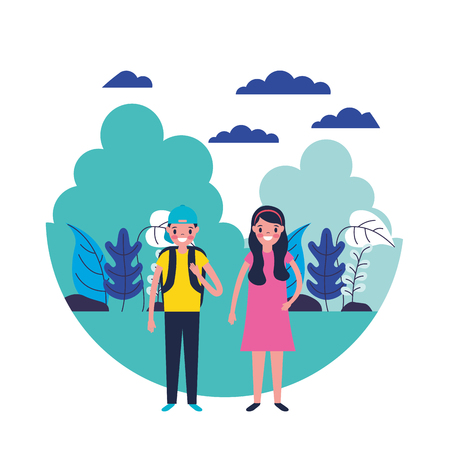 travelers boy and girl in the natural scene vector illustration