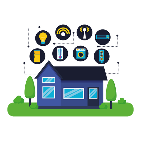 smart home digital technology system vector illustration Stock Illustratie