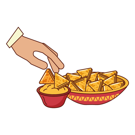 hand with nachos on white background vector illustration