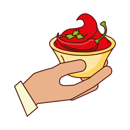 hand with sauce chili pepper vector illustration