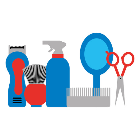 barber shop electric shaver scissors mirror brush vector illustration Illustration