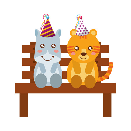 cute hippo and tiger on bench happy birthday vector illustration Illustration