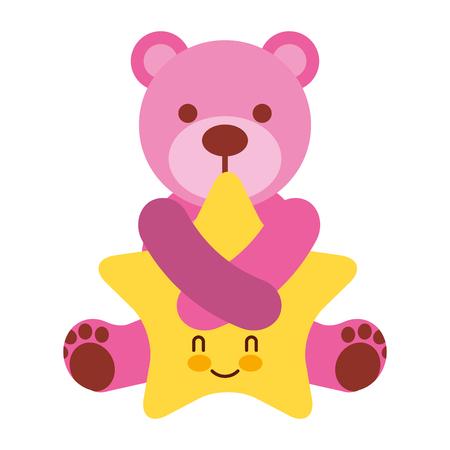 cute pink bear hugging cartoon star vector illustration Ilustração
