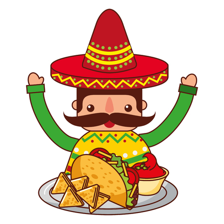 mexican man with hat and food vector illustration Vector Illustration