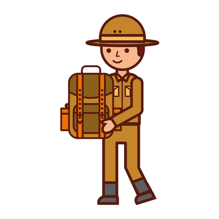 boy character safari with backpack vector illustration Stock Vector - 112727143