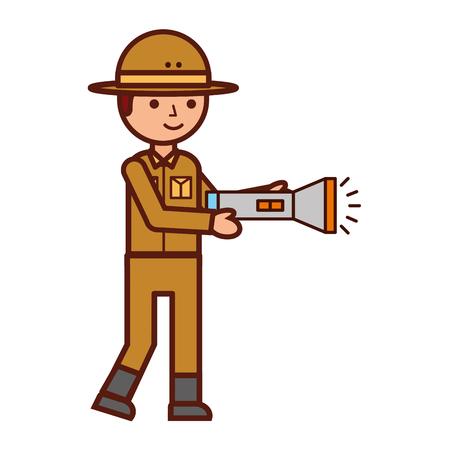 Safari de personaje de niño con ilustración de vector de linterna Ilustración de vector