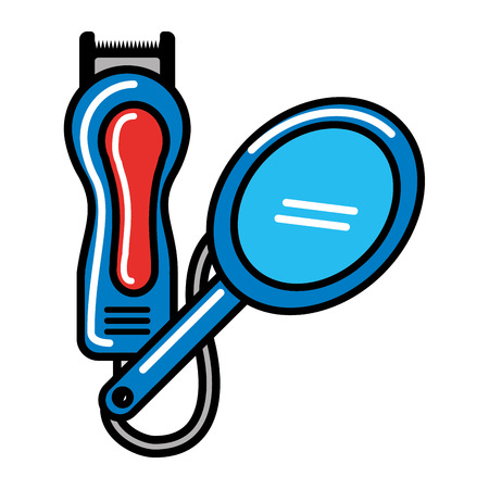 barber shop electric shaver and mirror vector illustration