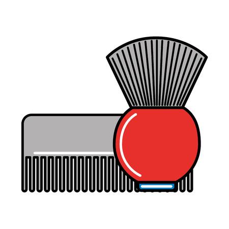 barber shop comb and brush vector illustration Standard-Bild - 127317566