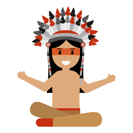 native american character with feather vector illustration