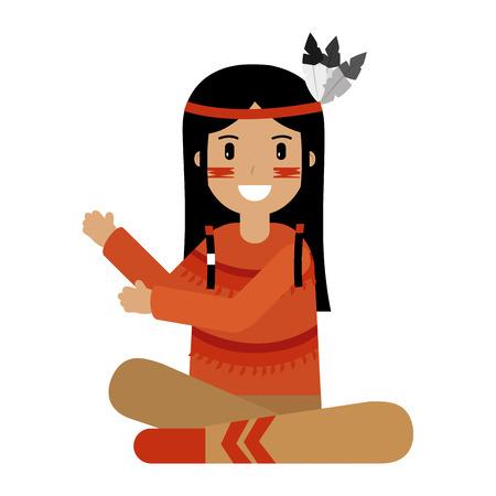 native american portrait character girl vector illustration
