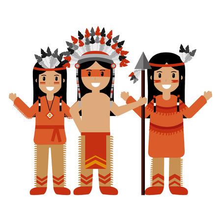 Guerreros de carácter nativo americano con ilustración de vector de arma Ilustración de vector