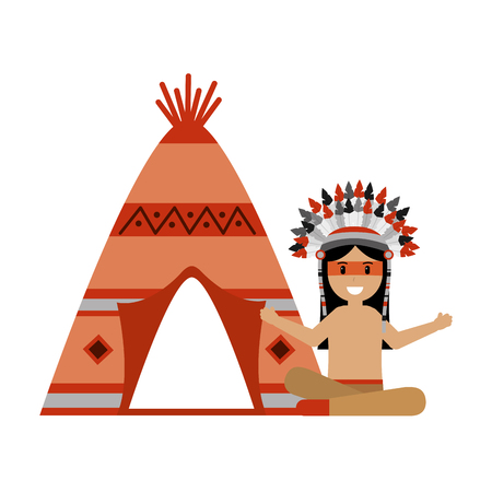 native american character with teepee vector illustration