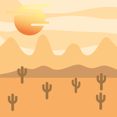 landscape desert cactus and sun vector illustration Illustration