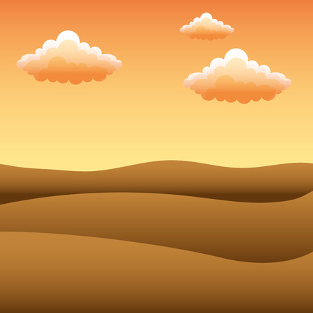 landscape sunset desert dunes sky clouds vector illustration