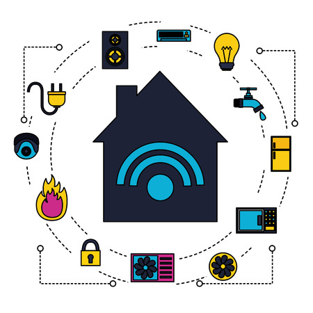 smart home system technology connection vector illustration Illustration