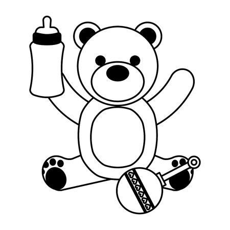 bear milk bottle and rattle vector illustration