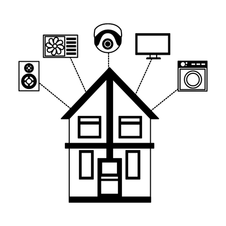 smart home monitoring control app vector illustration Иллюстрация