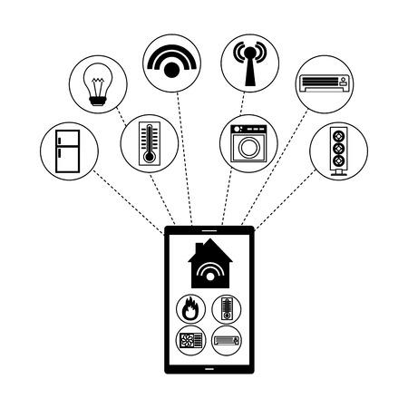 smart home smartphone application remote vector illustration Ilustração