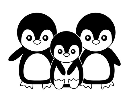 cute family penguins animals cartoon vector illustration Illustration
