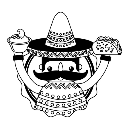 mexican man with hat and food vector illustration