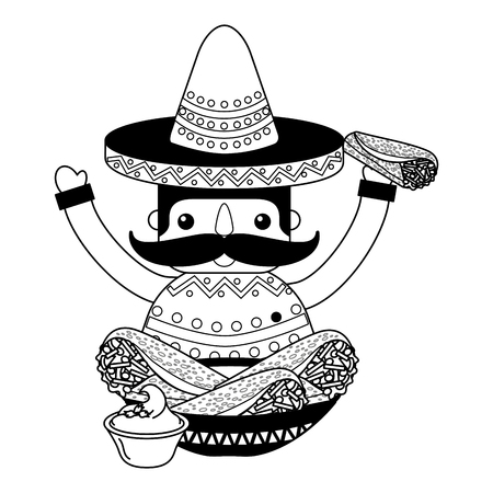 mexican man with hat and food vector illustration Stock Vector - 112728937