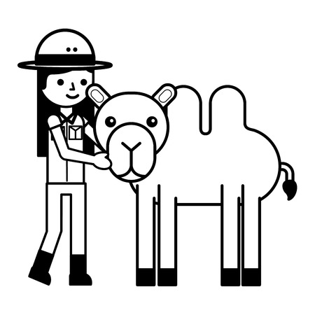 girl and camel animal safari vector illustration