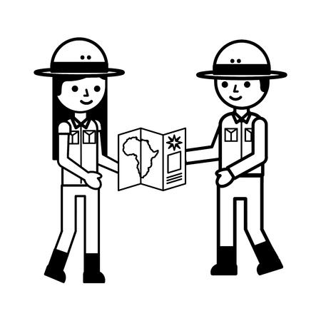 girl and boy uniform map safari vector illustration